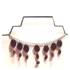 Ruby Glass Bead Statement Necklace